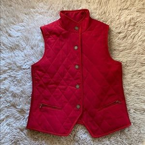 Red Talbots Quilted Snap Vest